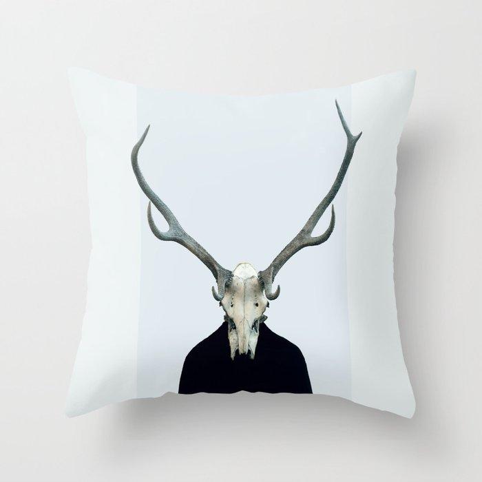 Living Skull and Horns Throw Pillow