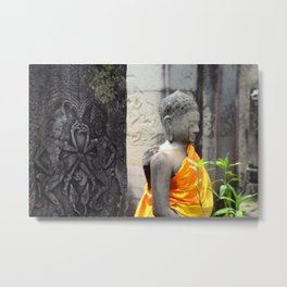 Stone Buddha in Saffron Robes, Cambodia Metal Print