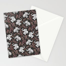 Laughing Baby Elephants - Coral Stationery Cards
