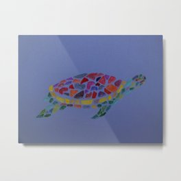 Coloured Turtle Metal Print