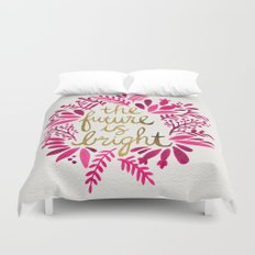 The Future is Bright – Pink & Gold Duvet Cover
