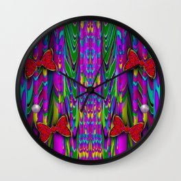 Butterflies and pearls in the rainbow forest Wall Clock