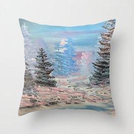 Winter calm-along the creek Throw Pillow