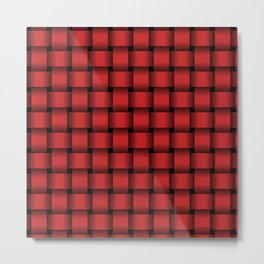 Firebrick Red Weave Metal Print