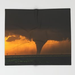 Silhouette - Large Tornado at Sunset in Kansas Throw Blanket