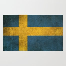 Old and Worn Distressed Vintage Flag of Sweden Rug