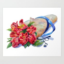Watercolor Red Tulip Wrap Art Print