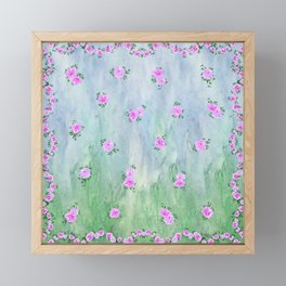 Petunias over Blue and Green with Scalloped Border Framed Mini Art Print