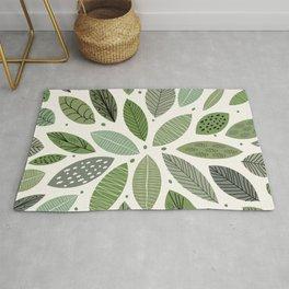 Mid-Century Green Leaves Rug