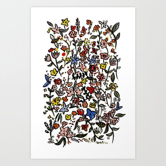 flower-scatter Art Print
