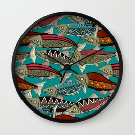 Alaskan salmon teal Wall Clock