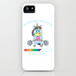 """Unicorn Star Gym Nice Leg Day Shirt """"Installing Muscles"""" T-shirt Design Dumbbell Funny Fitness iPhone Case"""