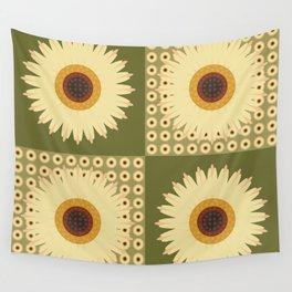 Sunflower Fields Green Pattern Wall Tapestry