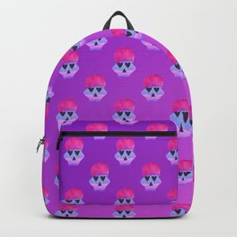 Pink Skull with Heart Eyes Pattern over Pink Gradient Backpack