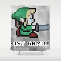 gaming Shower Curtains featuring JUST GAMING by EdgarGS
