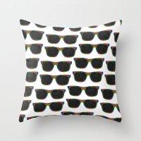 sunglasses Throw Pillows featuring Sunglasses by Luna Portnoi