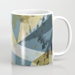 psychedelic geometric triangle polygon pattern abstract in blue yellow pink Coffee Mug