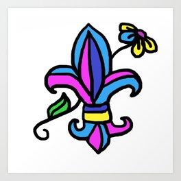 Le Fleur de lis in blue Art Print