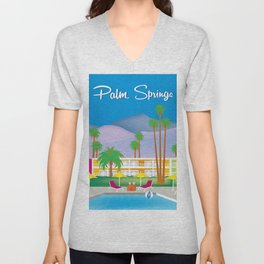Palm Springs, California - Skyline Illustration by Loose Petals Unisex V-Neck