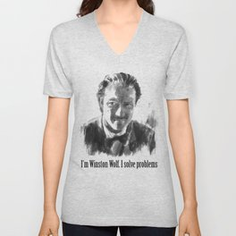 Winston Wolf in Pulp Fiction Unisex V-Neck