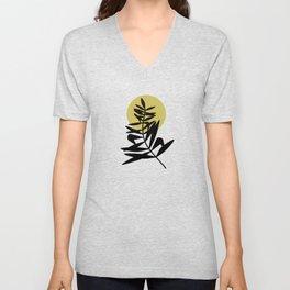 Mid Century Black Palm Leaf Against The Sun Unisex V-Neck