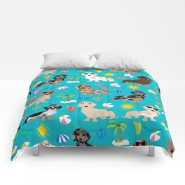 Dachshunds beach summer tropical vacation weener dogs doxie gifts Comforters