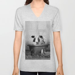 Cow with Rubber Ducky in Vintage Bathtub Unisex V-Neck