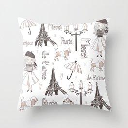 Paris Girl Throw Pillow