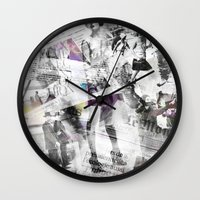 newspaper Wall Clocks featuring Newspaper collage by Arken25