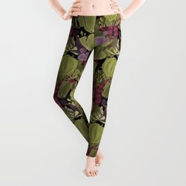Cacti cactus and succulent watercolor effect style Leggings