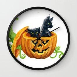halloween cats, pumpkin, jack-o-lantern Wall Clock