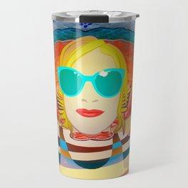 Swimming on Yellow Travel Mug