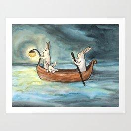 Night Boating Art Print