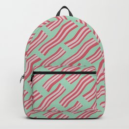 Frying Bacon Over Green Backpack