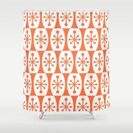 Mid Century Modern Atomic Fusion Pattern Orange Shower Curtain