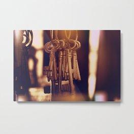 Hanging Keys+Bokeh Metal Print