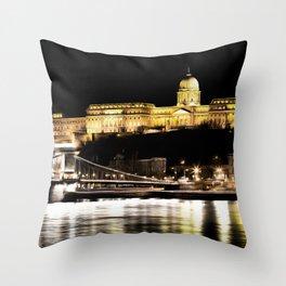 Budapest Chain Bridge And Castle Art Throw Pillow