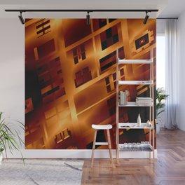 Abstract 379 Orange Geometric Windows Wall Mural