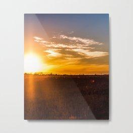 October Sunset on a Saskatchewan Farm Metal Print