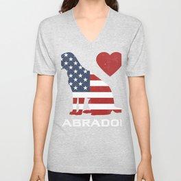Patriotic USA Flag Black Labrador design for Lab Owners graphic Unisex V-Neck