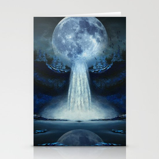 waterfall moon Stationery Cards
