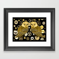 Cogs and Owls Framed Art Print