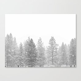 Snow Day // Black and White Winter Landscape Photography Snowing Whiteout Blizzard Canvas Print