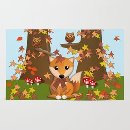 Fall fox, owls and leaves, vector illustration Rug