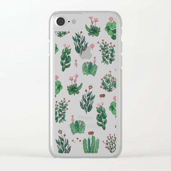 green and black garden with red flowers Clear iPhone Case