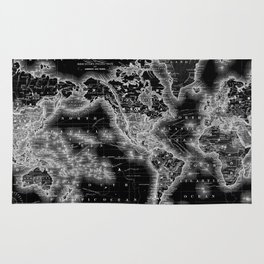 Black and White World Map (1864) Inverse Rug