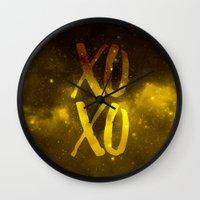 xoxo Wall Clocks featuring XOXO by cat&wolf