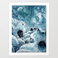 moomin Art Prints featuring Winter in The Moomin Valley by stelari