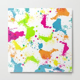 colorful paint blots Metal Print