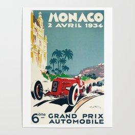 Grand Prix Monaco, 1934, vintage poster Poster